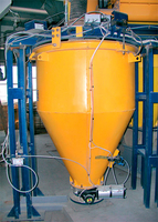 Automatic weighing batcher for cement metering with a twin screw screw feeder