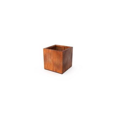 Planter Quadra rust colored 60x60x60 cm